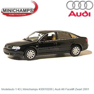 Modelauto 1:43 | Minichamps 430010200 | Audi A6 Facelift Zwart 2001