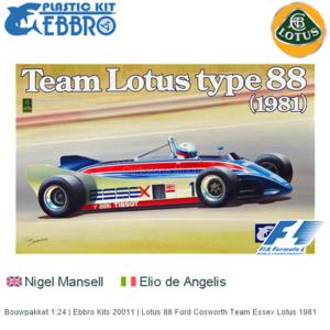 Bouwpakket 1:24 | Ebbro Kits 20011 | Lotus 88 Ford Cosworth Team Essex Lotus 1981