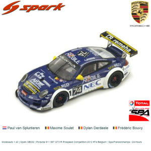 Modelauto 1:43 | Spark SB032 | Porsche 911 997 GT3 R Prospeed Competition 2012 #74 Belgium / Spa-Francorchamps / 24 Hours