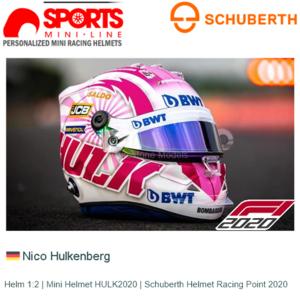 Helm 1:2 | Mini Helmet HULK2020 | Schuberth Helmet Racing Point 2020