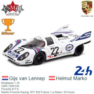 Modelauto 1:18 | CMR CMR135 | Porsche 917 K | Martini Porsche Racing 1971 #22 France / Le Mans / 24 Hours