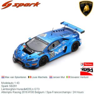 Modelauto 1:43 | Spark SB291 | Lamborghini Huracán GT3 | Attempto Racing 2016 #100 Belgium / Spa-Francorchamps / 24 Hours