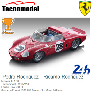Modelauto 1:18   Tecnomodel TM18-129E   Ferrari Dino 268 SP   Scuderia Ferrari 1962 #92 France / Le Mans 24 Hours