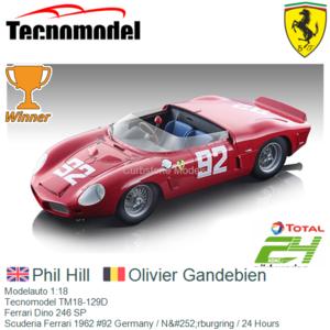 Modelauto 1:18 | Tecnomodel TM18-129D | Ferrari Dino 246 SP | Scuderia Ferrari 1962 #92 Germany / Nürburgring / 24 Hours