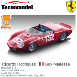 Modelauto 1:18 | Tecnomodel TM18-129C | Ferrari Dino 246 SP | Scuderia Ferrari 1962 #152 Italy / Targa Florio