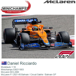 Modelauto 1:18 | Minichamps 530211803 | McLaren MCL35M | McLaren F1 2021 #3 Bahrain / Circuit Sakhir / Bahrain GP