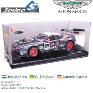 Modelauto 1:18 | Solido soli118001 | Aston Martin DBR9 2007 #59 Modena