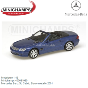 Modelauto 1:43   Minichamps 400031030   Mercedes Benz SL Cabrio Blauw metallic 2001