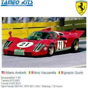 Bouwpakket 1:43 | Tameo MTG003 | Ferrari 512S S5.0 | SpA Ferrari SEFAC 1970 #21 USA / Sebring / 12 Hours