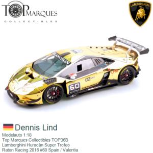 Modelauto 1:18   Top Marques Collectibles TOP36B   Lamborghini Huracán Super Trofeo   Raton Racing 2016 #60 Spain / Valentia