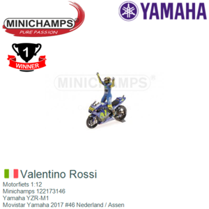 Motorfiets 1:12   Minichamps 122173146   Yamaha YZR-M1   Movistar Yamaha 2017 #46 Nederland / Assen