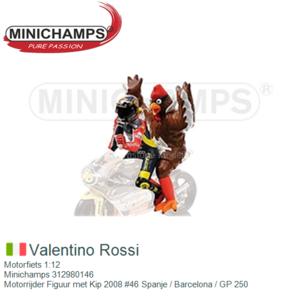 Motorfiets 1:12 | Minichamps 312980146 | Motorrijder Figuur met Kip 2008 #46 Spanje / Barcelona / GP 250