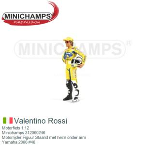 Motorfiets 1:12 | Minichamps 312060246 | Motorrijder Figuur Staand met helm onder arm | Yamaha 2006 #46
