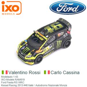 Modelauto 1:43   IXO-Models RAM619   Ford Fiesta RS WRC   Kessel Racing 2013 #46 Italië / Autodromo Nazionale Monza